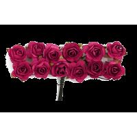Rožice iz papirja na žici, 15 mm, bordo rdeče, 12 kosov