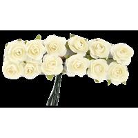 Rožice iz papirja na žici, 15 mm, krem, 12 kosov