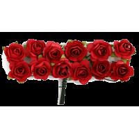 Rožice iz papirja na žici, 15 mm, rdeče, 12 kosov