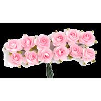Rožice iz papirja na žici, 15 mm, rožnate, 12 kosov