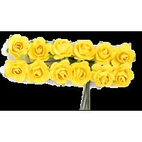 Rožice iz papirja na žici, 15 mm, rumene, 12 kosov