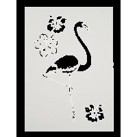 Šablona, A4, flamingo in cvetovi