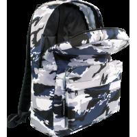 Šolski nahrbtnik Camouflage, moder/bel