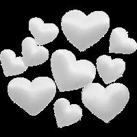 Srčki iz satena, 10 + 20 mm, beli, 70 kosov