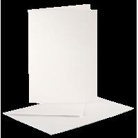 Voščilnica in kuverta, 10.5 x 15 cm, biserno bela, 1 komplet
