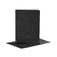 Voščilnica in kuverta, 10.5 x 15 cm, glitter črna, 1 komplet