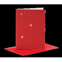 Voščilnica in kuverta, 10.5 x 15 cm, glitter rdeča, 1 komplet