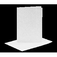 Voščilnica in kuverta, 10.5 x 15 cm, glitter srebrna, 1 komplet
