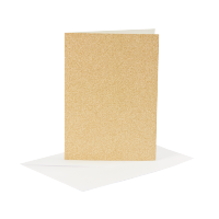 Voščilnica in kuverta, 10.5 x 15 cm, glitter zlata, 1 komplet