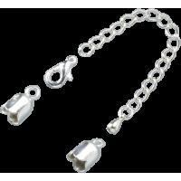 Zaključni kapici z verižico, Ø6 mm, srebrni, 1 komplet