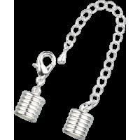 Zaključni kapici z verižico, Ø8 mm, srebrni, 1 komplet