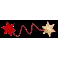 Žica za zavijanje daril, zvezdici, rdeča / zlata, 4 kosi