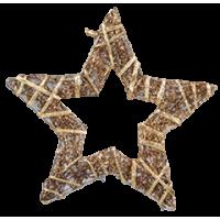 Zvezda iz trte ovita s trakom, 10 cm