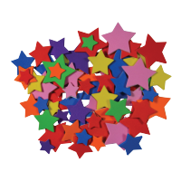 Zvezdice izrezane iz moosgumme, samolepilne, približno 55 kosov