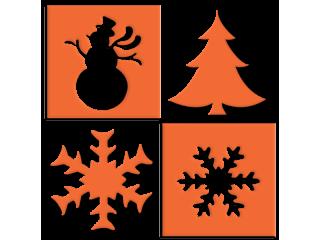 Motiv snežinka, zvezda, jelka