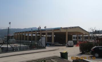 Streha dvorane je pripravljena za polaganje strešne kritine.
