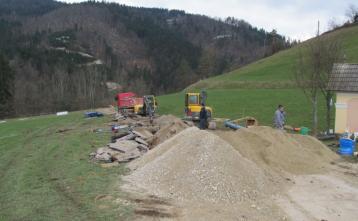 Gradnja vodovoda v Podgori proti Trebiji