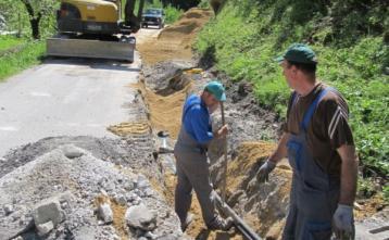 Gradnja vodovoda v Hotoveljski grapi