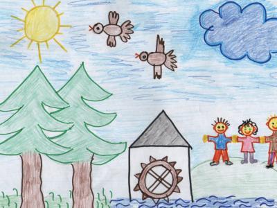 Skica zastave enote vrtca Kebelj, ki so jo narisali v otroci vrtca. (Foto: Vrtec Kebelj)