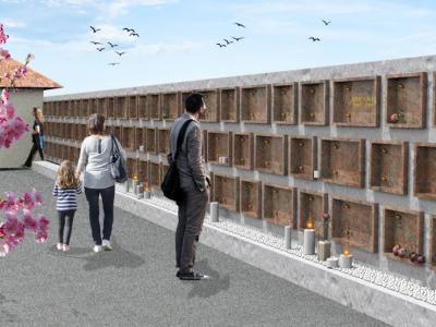 Žarna stena bo ena od novosti na šentjurskem pokopališču. Takšna je njena projekcija. (Foto: GINS)
