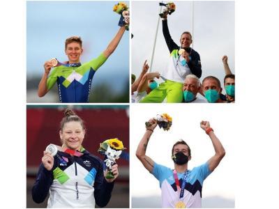 Slovenija ima na olimpijskih igrah v Tokiu doslej dve zlati, srebrno in bronasto medaljo. (Foto. splet)