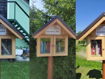 Pet knjigobežnic v kozjanski občini dopolnjuje okolico športnih igrišč. (Foto: Knjižnica Kozje, kolaž: Radio Štajerski val)