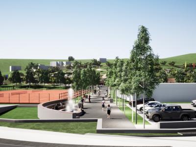 Promenada, ki bi po idejnem projektu vodila iz smeri Osnovne šole Franja Malgaja proti novemu mestnemu parku. (Foto: Občina Šentjur)