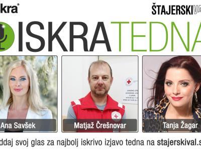 Tokrat v akciji ISKRATEDNA lahko glasujete med izjavami Ane Savšek, Matjaža Črešnovarja in Tanje Žagar.