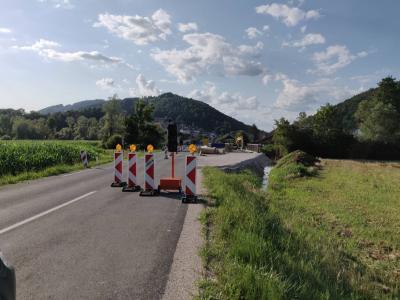 Delovišče na državni cesti v Gorici pri Slivnici. (Foto: Štajerski val)