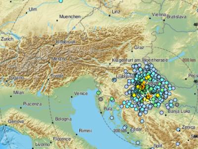 Fotografija kaže, od kod vse so poročali, da so ččutili potres. (Foto: EMSC)