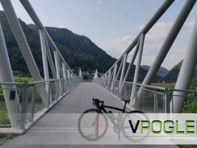 Naši kraji bodo dobili 73 kilometrov novih kolesarskih poti. Na fotografiji je del sreze, ki je že zgrajena med Celjem in Laškim in vodi po mostu čez Savinjo. (Foto: Štajerski val)