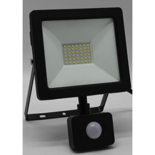 LED reflektor, stenski, s PIR senzorjem, INDUS-S, pravokoten, 30W, SMD, hladno bela, 3000lm, IP44, temno siv, 1/24, (R4) - Luči