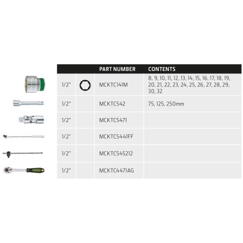 Garnitura nasadnih ključev 1/2¨ SET 31 kosov John Deere - Orodje John Deere