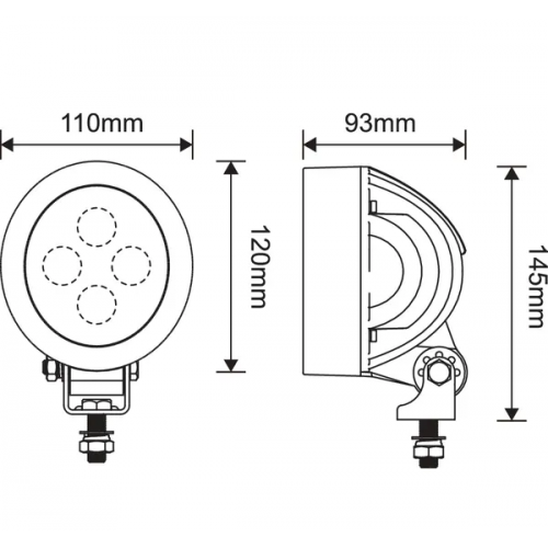 Luč delovna okrogla 4 X LED - Delovne luči