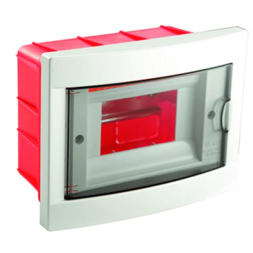 Hišna omarica, razdelilna, 6M, podometna, ABS, bela/dimljeno siva, 1/20, (R1) - Elektro omare, razdelilniki