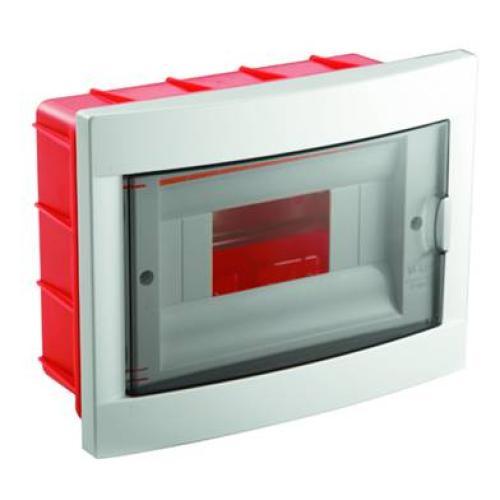 Hišna omarica, razdelilna, 8M, podometna, ABS, bela/dimljeno siva, 1/20, (R1) - Elektro omare, razdelilniki
